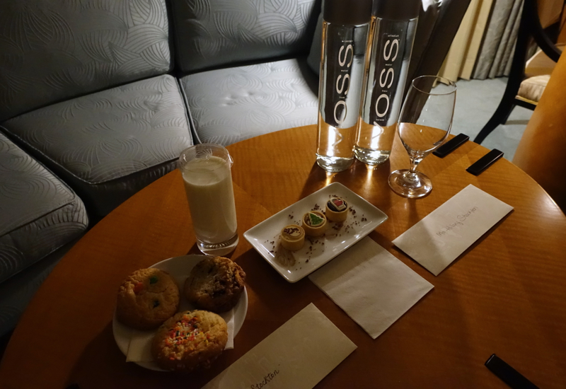 Cookies, Milk and Treats at Turndown, Mandarin Oriental Boston Review