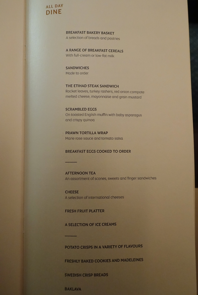 Breakfast and Snack Menu, Etihad First Class Abu Dhabi to New York JFK