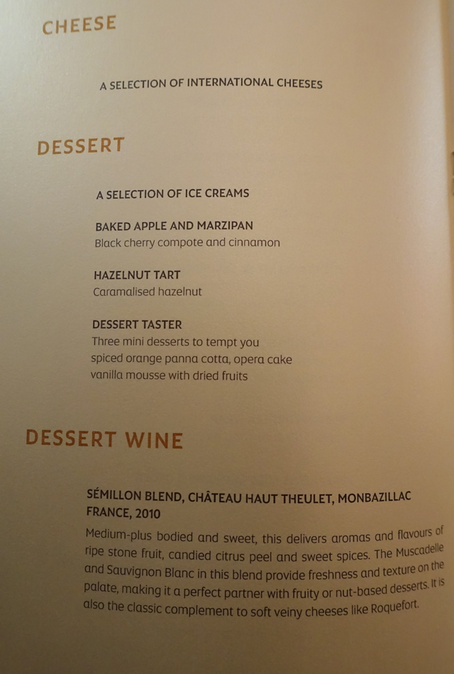 Dessert Menu, Etihad First Class AUH to NYC JFK Review