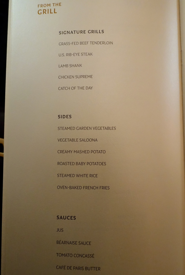Grill Menu, Etihad First Class A380 Abu Dhabi to New York Review