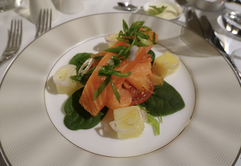 Balik Salmon Appetizer, Etihad First Apartment A380 Review