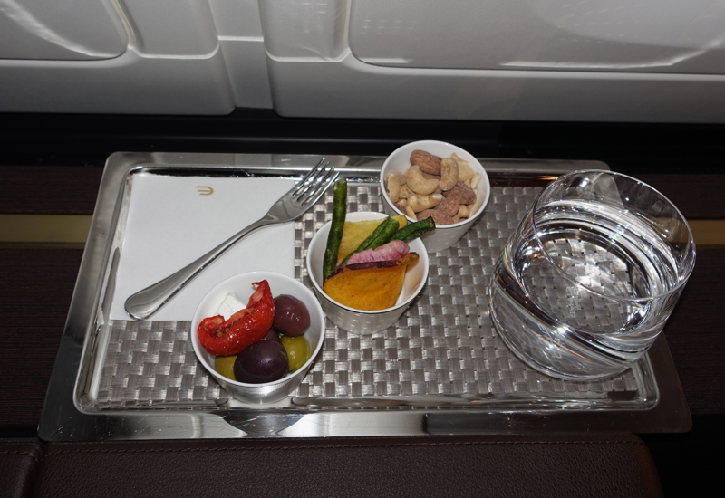 Vegetable Chips, Olives and Mixed Nuts, Etihad First Class Review