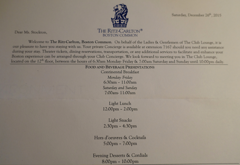 Ritz-Carlton Boston Club Lounge Letter with Food and Beverage Presentation Times