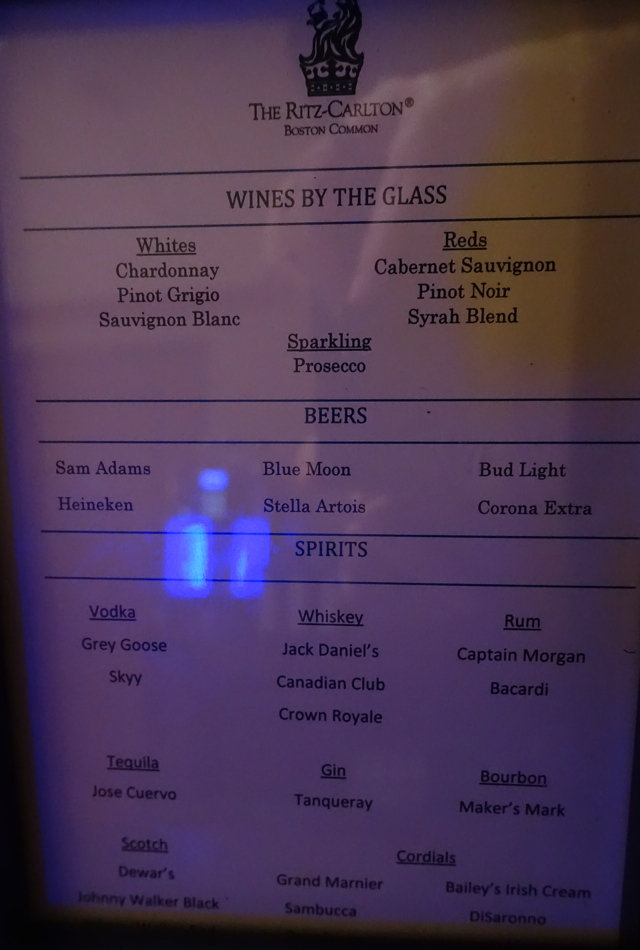Wine and Spirts List, Ritz-Carlton Boston Common Club Lounge Review