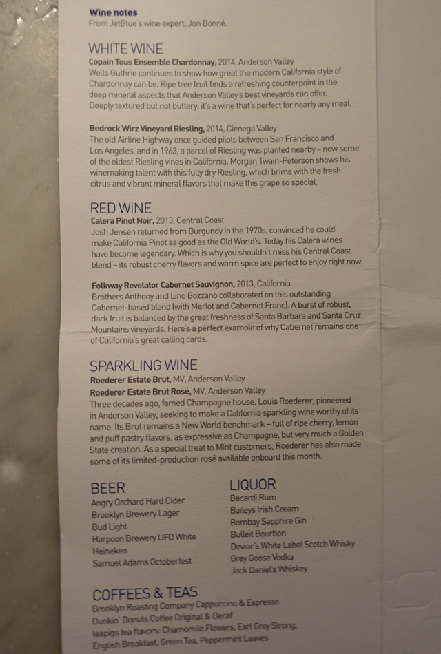 JetBlue Mint Wine List
