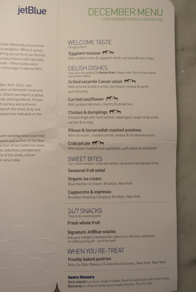 JetBlue Mint Menu SFO to New York JFK