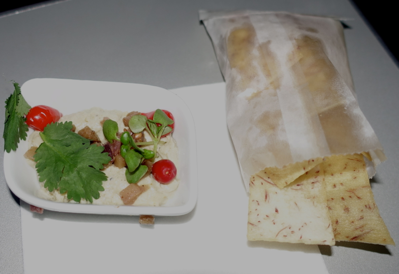 Eggplant Mousse and Taro Chips, JetBlue Mint Review A321