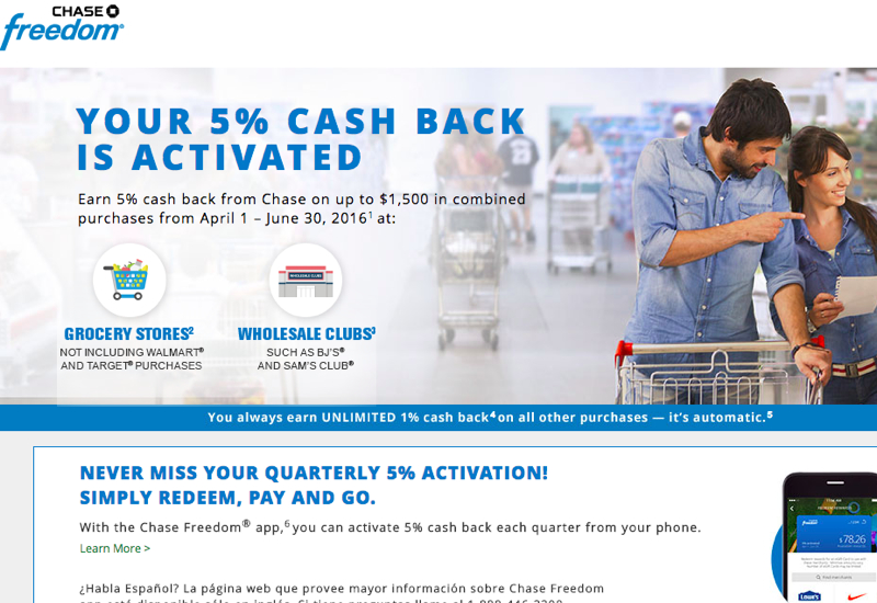 Activate Chase Freedom 5X for Grocery Stores