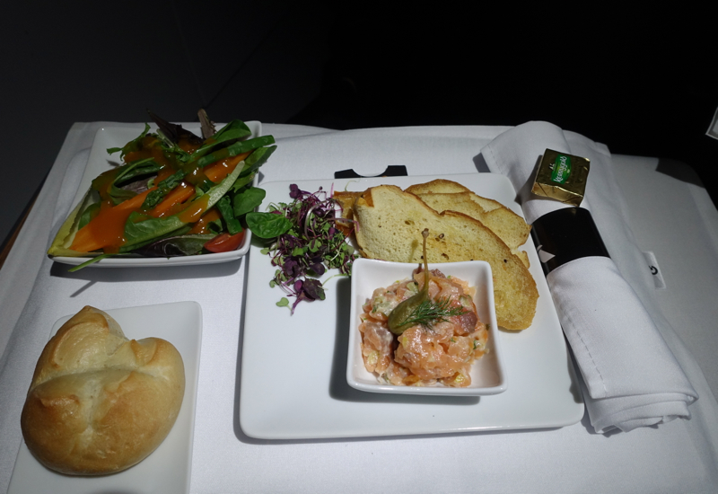 Lunch Appetizer and Salad, American A321 Business Class Review