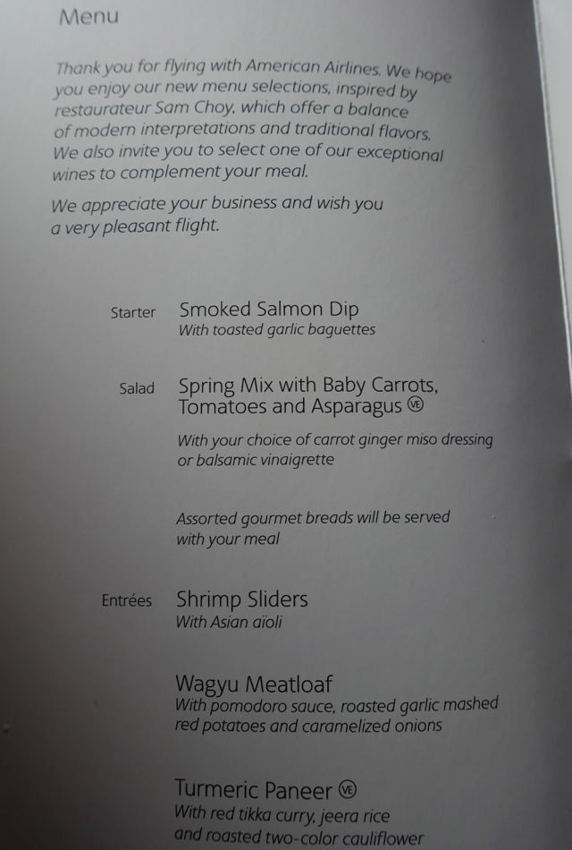 American Airlines A321 Transcon Lunch Menu JFK to LAX