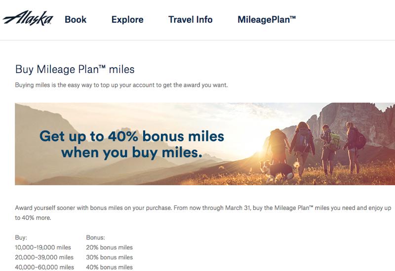 Buy Alaska Miles with 40% Bonus