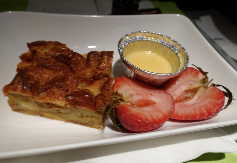 Bread Pudding with Vanilla Sauce, Air Tahiti Nui Business Class Review
