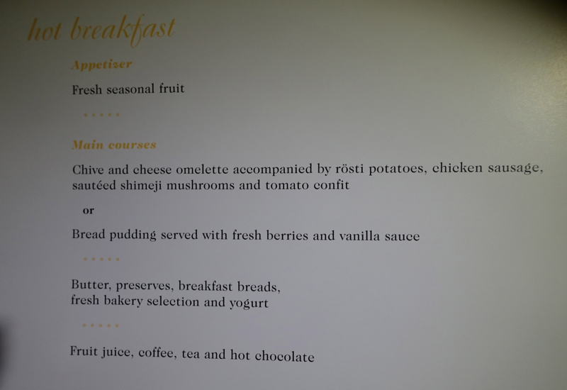 Air Tahiti Nui Business Class Breakfast Menu LAX-PPT