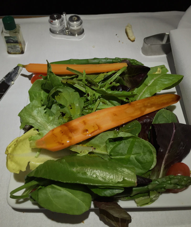 Salad, American Airlines A321 First Class Review