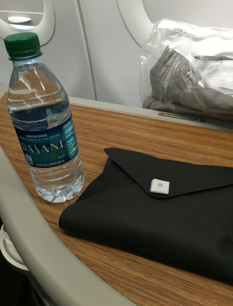 Bottled Water and Amenity Kit, American A321 First Class Review