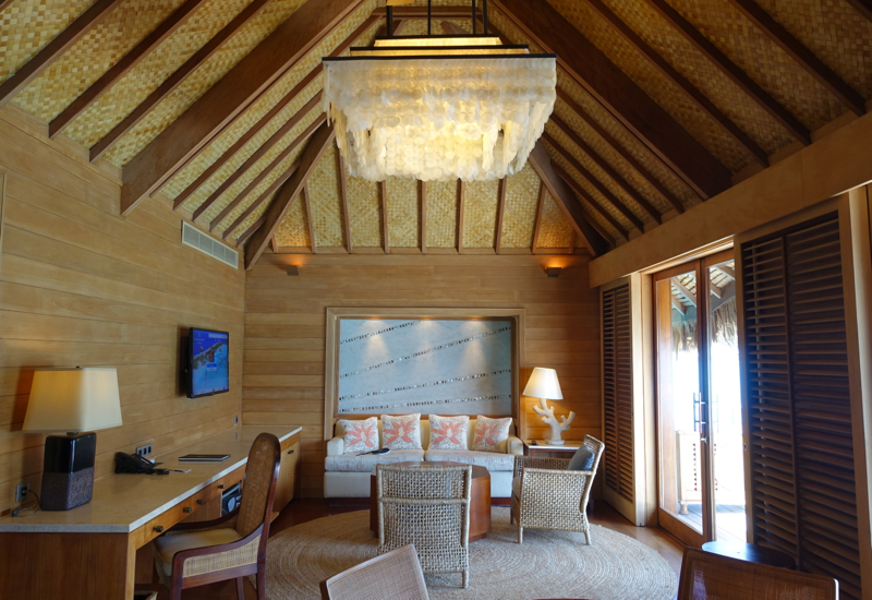 Living Area, Otemanu Overwater Bungalow Suite with Plunge Pool, Four Seasons Bora Bora Review