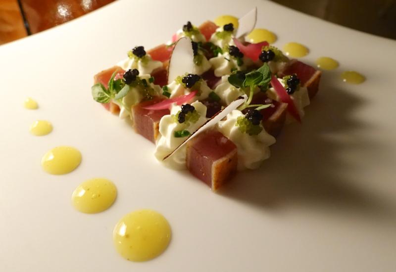 Seared Tuna with Caviar and Lime Cream, Four Seasons Bora Bora Restaurant Review