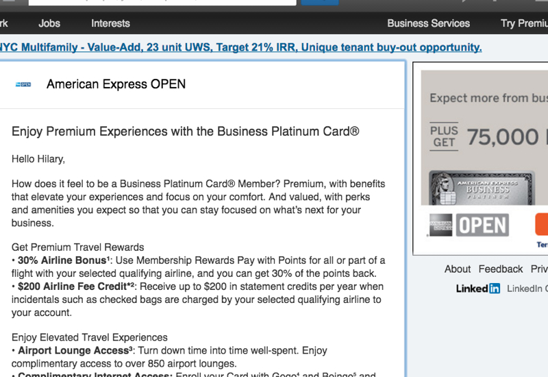 75K AMEX Business Platinum via LinkedIn Targeted Offers