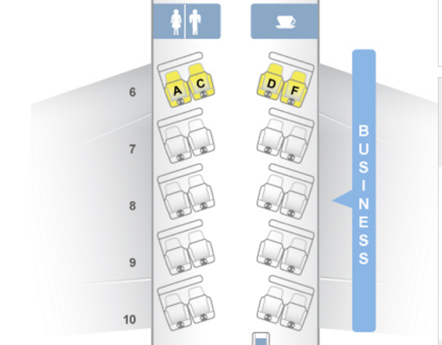 American Business Class Cabin, A321 Transcon