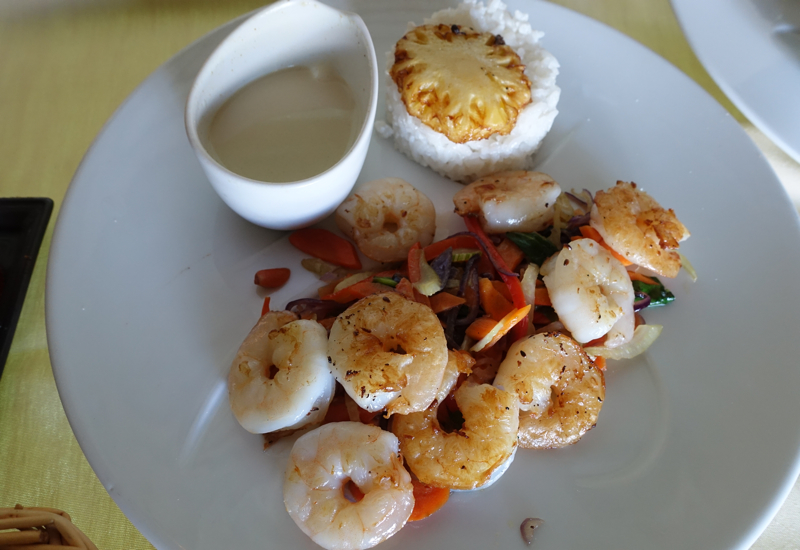 Roasted Shrimp with Pineapple Rice, InterContinental Bora Bora Thalasso Review