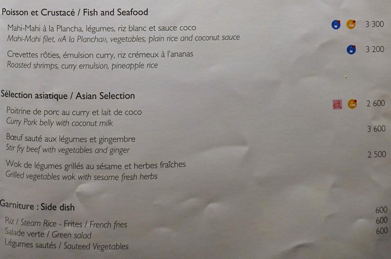 InterContinental Bora Bora Menus - Fish and Seafood