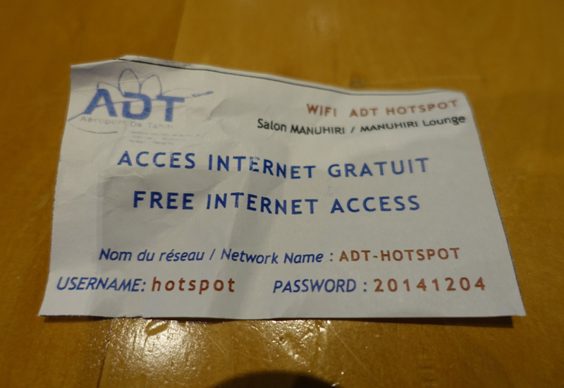Papeete Business Class Lounge WiFi Username and Password
