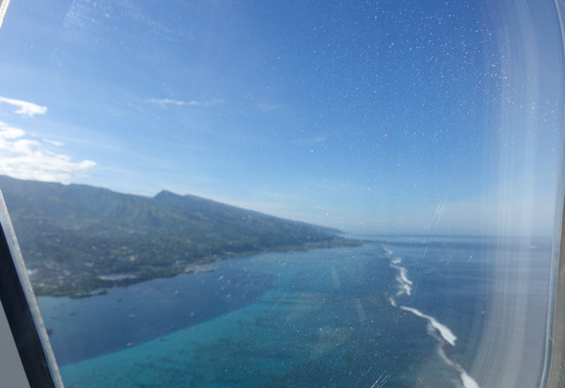 Air Tahiti Nui Business Class Review: View of Papeete Tahiti After Take-off