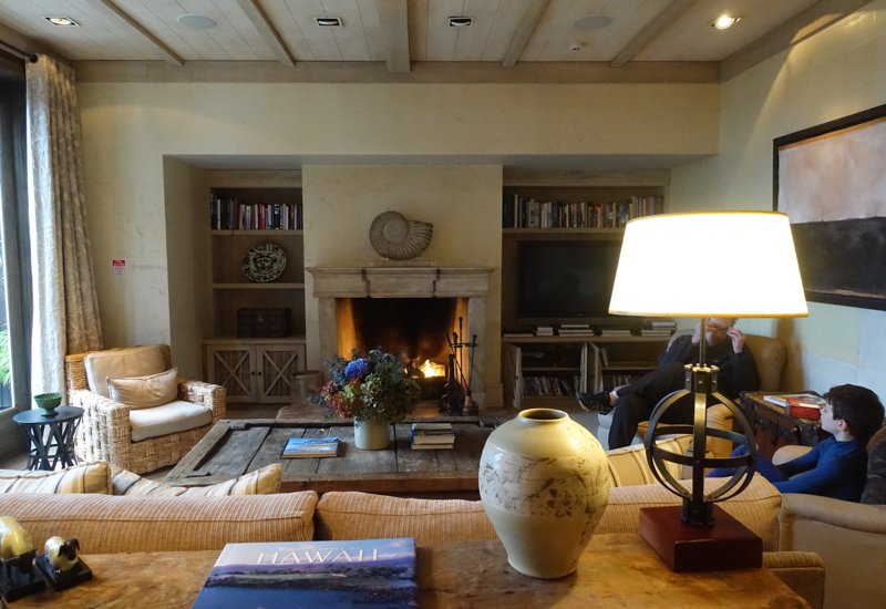 Cozy Lit Fireplace in the Lodge, The Farm at Cape Kidnappers Review New Zealand