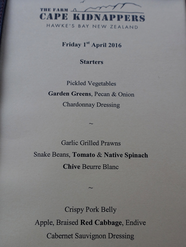 The Farm at Cape Kidnappers Dinner Menu-Appetizers