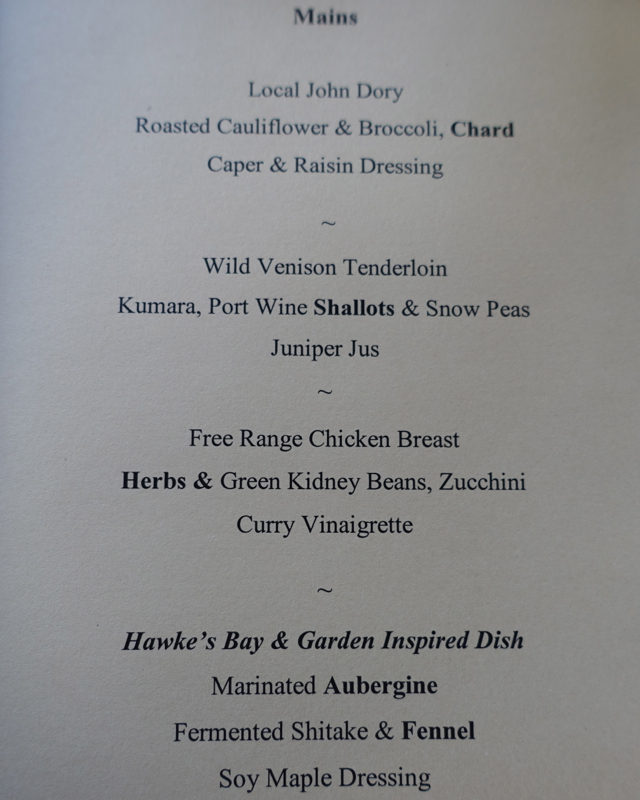 The Farm at Cape Kidnappers Dinner Menu