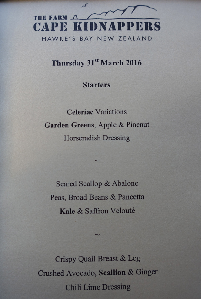 The Farm at Cape Kidnappers Dinner Menu-Starters