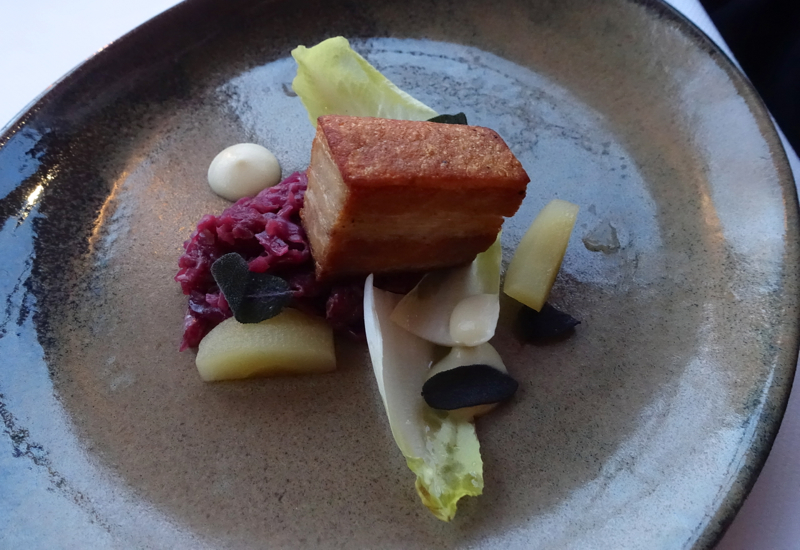 Crispy Pork Belly Appetizer, The Farm at Cape Kidnappers Restaurant Review