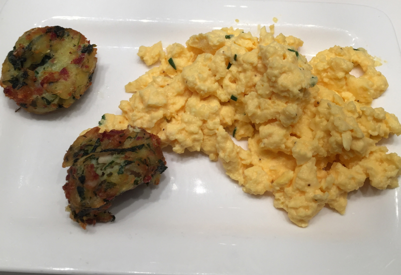 Air New Zealand Auckland Lounge Food Review-Scrambled Eggs and Fritters