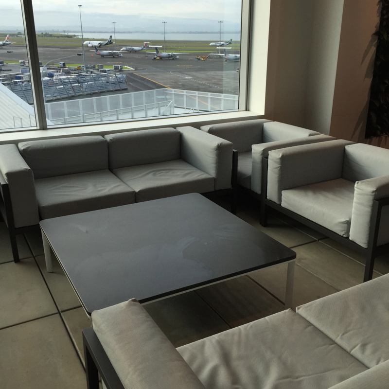 Sofa with View of Tarmac, Air New Zealand Auckland Lounge Review