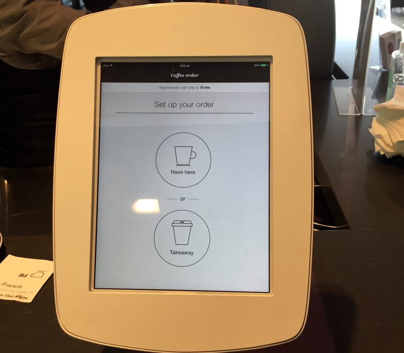Order Coffee by Touchscreen, Air New Zealand Auckland Lounge Review