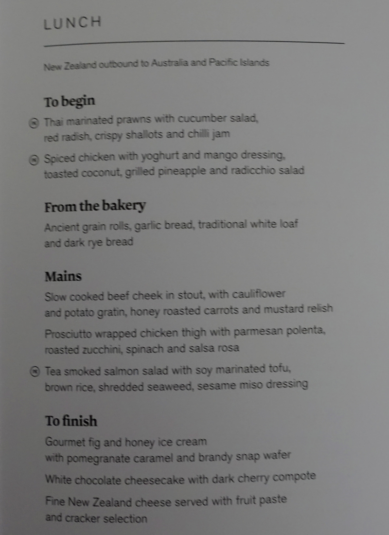 Air New Zealand Business Premier Menu