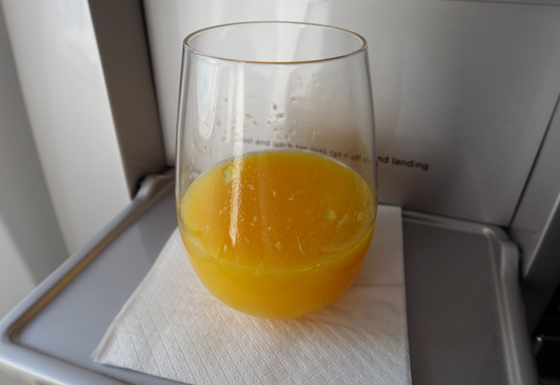 Air New Zealand Business Premier Review: Fresh Squeezed Orange Juice