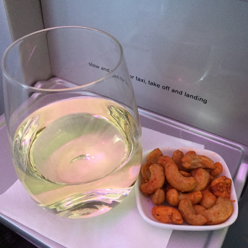 Pinot Grigio and Spicy Cashews, Air New Zealand Business Class Review