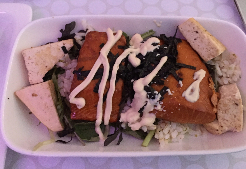 Air New Zealand Business Premier Lunch Review: Tea Smoked Salmon with Tofu