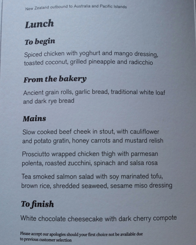 Air New Zealand Premium Economy Menu Auckland to Nadi Fiji