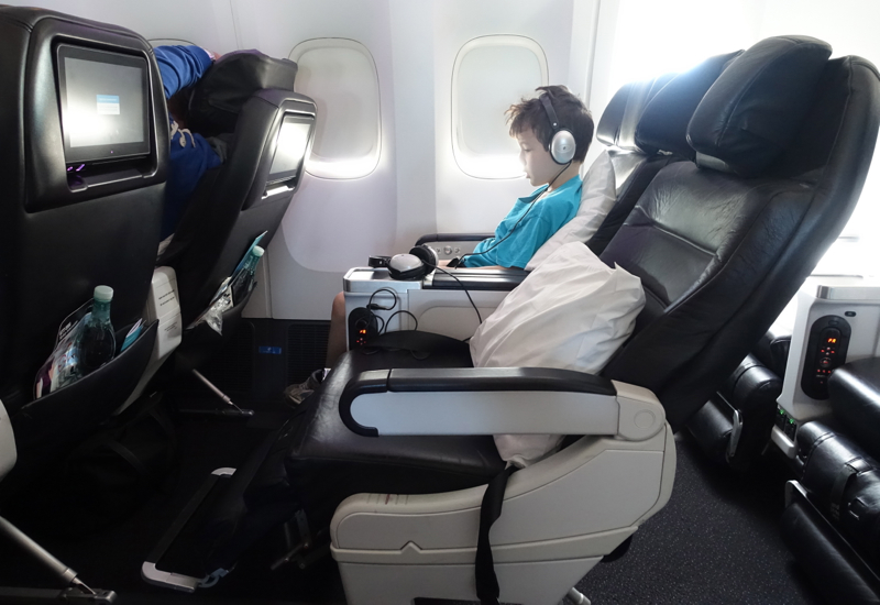 Air New Zealand Premium Economy Seat Review-Reclined with Footrest Extended