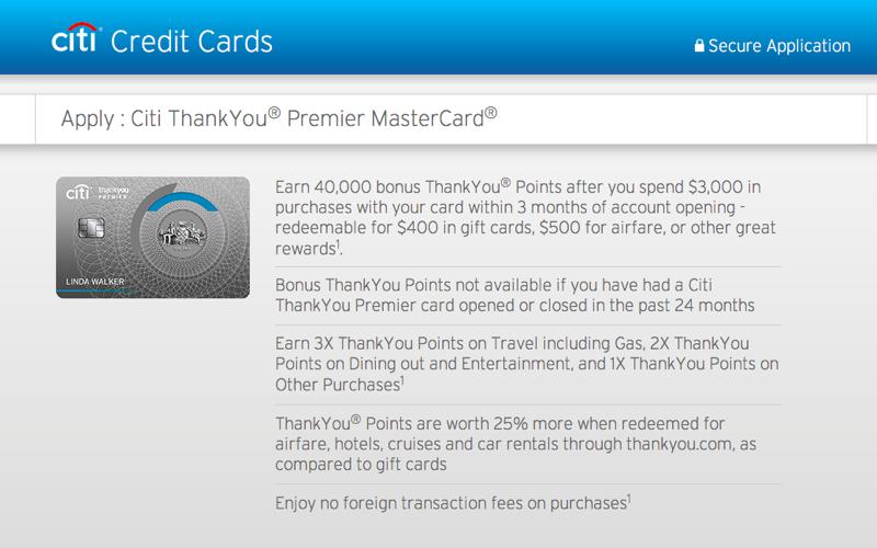 40K Citi ThankYou Premier Bonus Offer