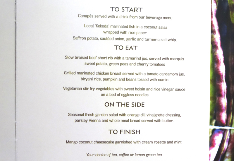 Fiji Airways Business Class Menu