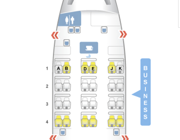 Fiji Airways A330-200 Business Class Seat Map