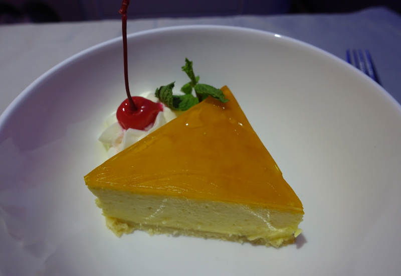 Coconut Cheesecake with Mango Topping, Fiji Airways Business Class Review
