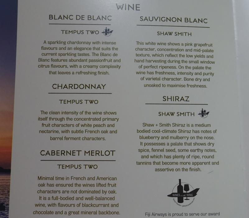 Wine List, Fiji Airways Business Class Review