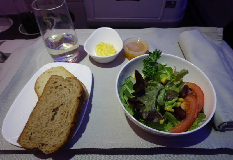 Fiji Airways Business Class Review-Salad and Bread