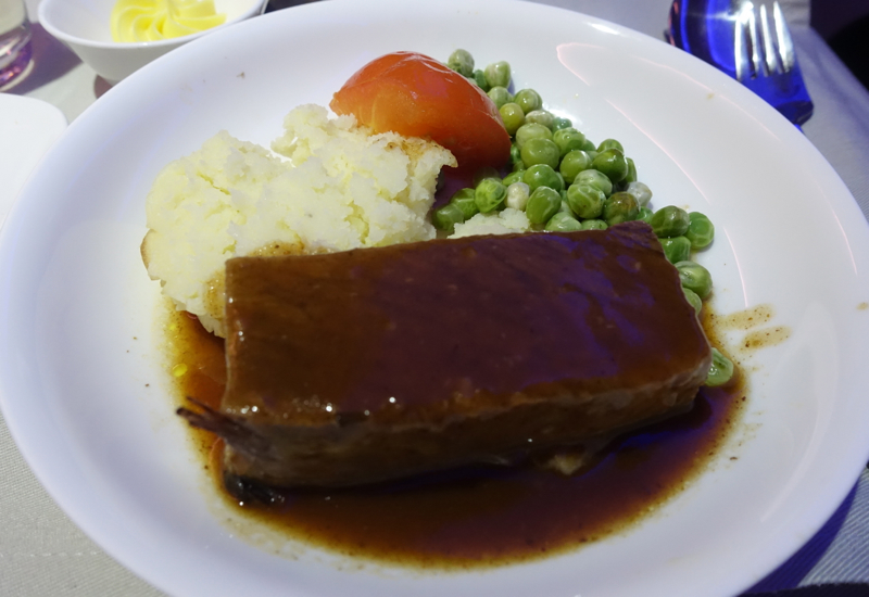 Fiji Airways Business Class Review-Beef Short Rib Meal