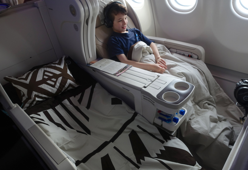Fiji Airways Business Class Angled Flat Bed Seat Review