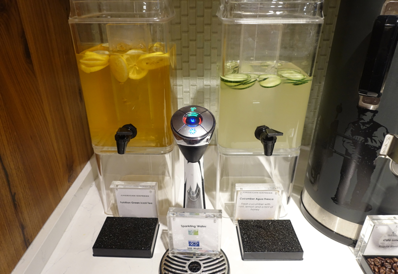 Iced Tea and Cucumber Infused Water, AMEX Centurion Studio Seattle Review